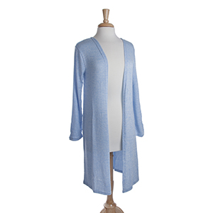 Blue heather knit long cardigan. 53% Viscose, 45% Polyester, and 2% Spandex. One size fits most.