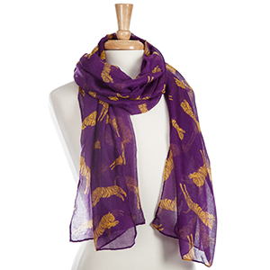 "Lightweight purple scarf with printed yellow tigers. 100% Polyester. Approximately 22"" x 74""."