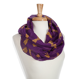 Lightweight purple infinity scarf with printed yellow tigers. 100% Polyester.