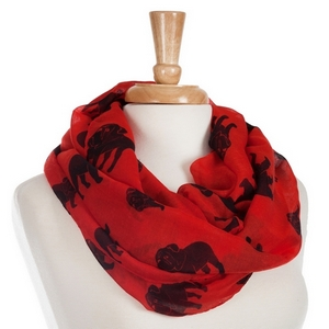 Lightweight red infinity scarf with printed black bulldogs. 100% Polyester.