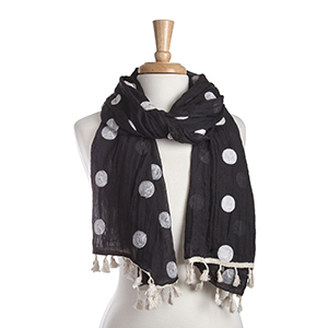 "Lightweight black and white polka dot oblong scarf with mini tassels. 35% Cotton and 65% Viscose. Approximately 29"" x 72""."