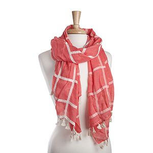 "Lightweight coral and ivory plaid oblong scarf with mini tassels. 35% Cotton and 65% Viscose. Approximately 29"" x 72""."