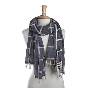 "Lightweight gray and ivory plaid oblong scarf with mini tassels. 35% Cotton and 65% Viscose. Approximately 29"" x 72""."