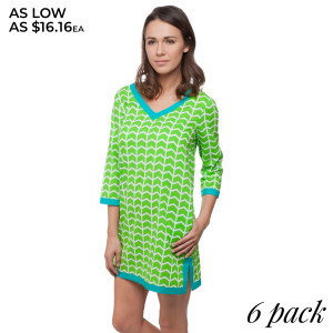 Lime green printed tunic dress with 3/4 length sleeves and turquoise trim. Sold in packs of six - one small, two mediums, two larges, one extra large. 100% Cotton