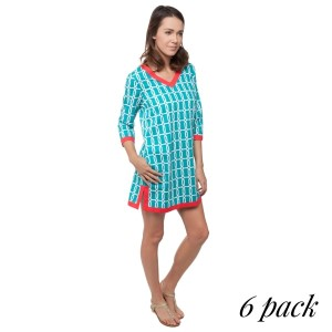 Turquoise printed tunic dress with 3/4 length sleeves and coral trim. Sold in packs of six - one small, two mediums, two larges, one extra large. 100% Cotton