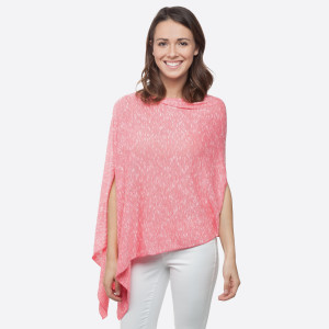 Coral lightweight sweater knit poncho with an asymmetrical hem. 58% Polyester 39% Rayon 3% Spandex. One size fits most.