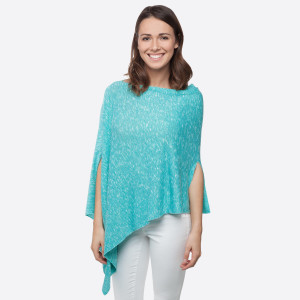 Turquoise lightweight sweater knit poncho with an asymmetrical hem. 58% Polyester 39% Rayon 3% Spandex. One size fits most.