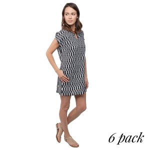 Black and white trellis print shift dress. Sold in packs of six - one small, two mediums, two larges, one extra large.