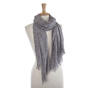 "Lightweight gray crinkled oblong scarf. 100% Viscose. Approximately 29 1/2"" x 72""."