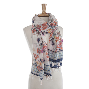 "Lightweight coral and navy flower print oblong scarf. 30% Viscose and 70% polyester. Approximately 41"" x 72""."