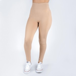 Khaki leggings. One size fits all, full length, summer weight, Lycra spandex. Offered in everyday essential colors to coordinate with long tops or skirts.