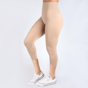 One size fits most, seamless khaki capris. Summer weight, Lycra spandex leggings.