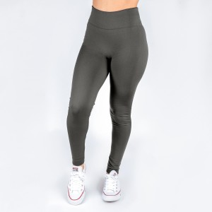 Charcoal gray leggings. This style is one size fits all, full length, and in a summer weight. Offered in everyday essential colors to coordinate with long tops or skirts.  Made of a 92% nylon and 8% spandex mix.