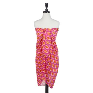 Hot pink and orange diamond print oblong scarf that can also be worn as a coverup.