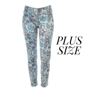 Plus size, faded wash, floral print leggings. Summer weight. Made of a 92% polyester and 8% Spandex blend.