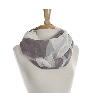 Lightweight white infinity scarf with gray stripes. 65% polyester and 35% viscose.
