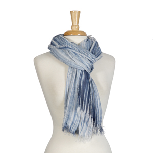 Navy blue and white striped open scarf with frayed edges. 65% polyester and 35% viscose.
