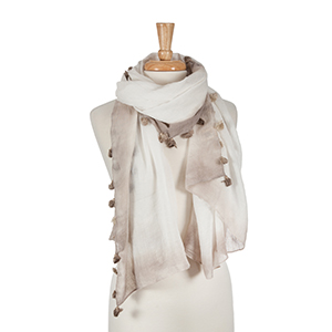 "Ombre taupe open scarf with tassel details. 100% polyester.  Approx. 64"" x 32"""