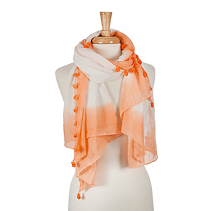 "Ombre coral oblong scarf with tassels. Approx. 64"" x 32"""