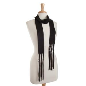 "Black faux suede skinny scarf with braided fringe detail. Approximately 88"" in length."