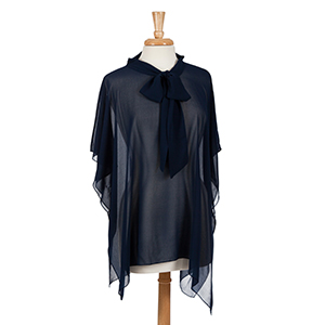 Navy blue poncho top with bow front. 100% polyester. One size fits most.