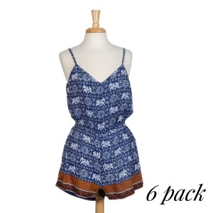 Navy blue elephant and Arabesque print romper sold is packs of six - one small, two medium, two large, one extra large.