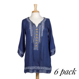 The Shooting Star Dress is a mosaic inspired navy blue tunic with 3/4 sleeve and beautiful embroidered detail and front placket. Sold in packs of six - 2 smalls, 2 mediums, 2 larges.
