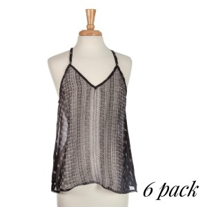 Black halter tank top with a white linear floral pattern with lace detail on the bottom hem. Sold in packs of six - one small, two mediums, two larges, one extra large.