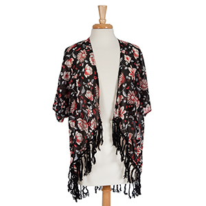 Black floral kimono top with fringe. 100% polyester. One size fits most.