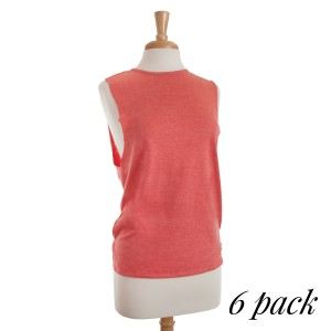 Basic heathered coral tank top with a slight high-low hem. Sold in packs of six - one small, two mediums, two larges, one extra large.