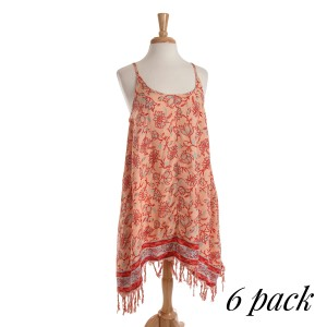 Peach, red and turquoise spaghetti strap dress with a paisley patter, sharkbite hem, and fringe detailing. Sold in packs of six - one small, two mediums, two larges, one extra large.