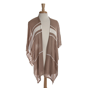 Lightweight beige kimono top with white stripes. 100% polyester. One size fits most.