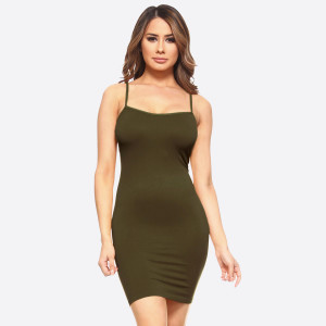 Olive green spaghetti strap camisole dress length tank top for layering. 92% nylon and 8% spandex. One size fits most.