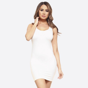 White wide strap camisole dress length tank top for layering. 92% nylon and 8% spandex. One size fits most.