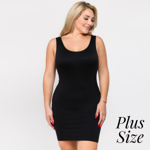 Black wide strap camisole dress length tank top for layering. 92% nylon and 8% spandex. One size fits most - plus size.