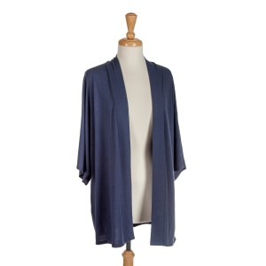 Navy blue shrug perfect for layering over tops and dresses. Soft viscose fabric is light enough to wear all year around. One size fits most regular.