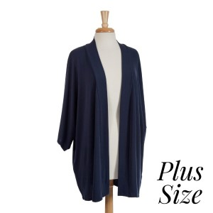 Navy blue shrug perfect for layering over tops and dresses. Soft viscose fabric is light enough to wear all year around. One size fits most, plus size.