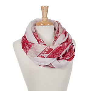 Ivory and crimson elephant printed open scarf. 100% polyester.