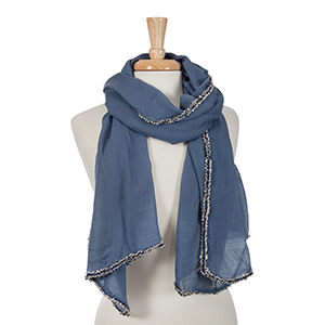 Navy blue open scarf with black frayed edges. 100% viscose.