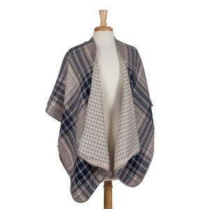 Gray, navy and ivory reversible kimono with houndstooth and plaid. 100% acrylic. One size fits most.