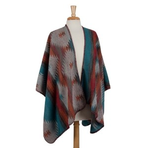 Heavyweight kimono top with an Aztec print. 100% acrylic. One size fits most.
