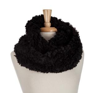 Black faux fur infinity scarf. 100% acrylic.