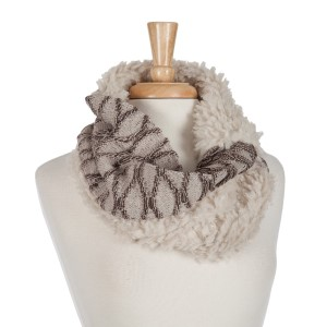 Beige and brown snood scarf with a faux fur inside.