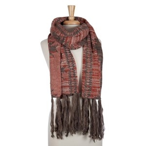 Beige, rust orange, and gray open scarf with an Aztec print and tassels. 100% acrylic.