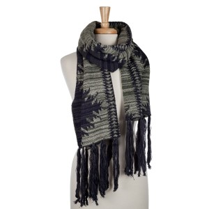 Beige, olive green and navy open scarf with an Aztec print and tassels. 100% acrylic.