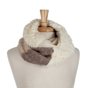 Ivory, taupe and brown infinity scarf with a faux fur lining. 100% acrylic.