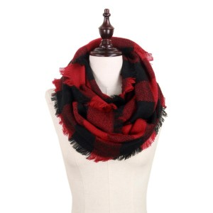 "Buffalo check woven infinity scarf.   - Approximately 19"" W x 33.5"" L - 100% Acrylic"