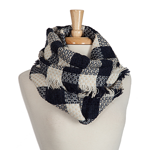 Navy blue and beige buffalo plaid, knit infinity scarf. 100% acrylic.