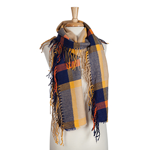 Navy, orange, and yellow plaid infinity scarf with fringe. 100% acrylic.