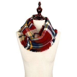 Burgundy, navy and white plaid infinity scarf. 100% acrylic.
